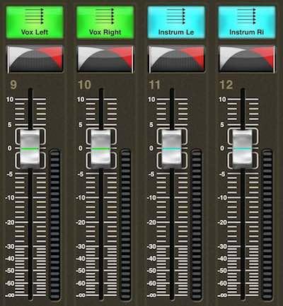 Vier Fader der X32 Remote Control App